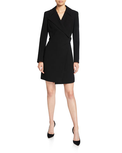 Charlotte Long-Sleeve Mini Dress with Notch Collar
