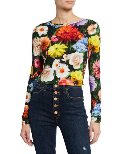 9a214458c2052 Delaina Floral-Print Long-Sleeve Crop Top