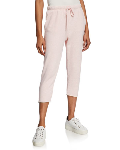 Cropped Drawstring Sweatpants with Raw Hem