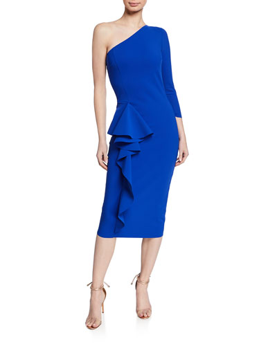 One-Shoulder Asymmetric-Ruffle Cocktail Dress
