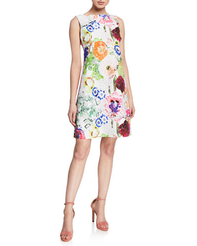 Abstract Floral-Print High-Neck Sleeveless A-Line Dress