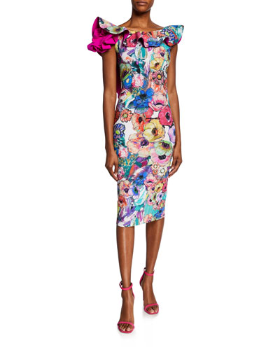 Floral-Print Ruffle-Trim U-Back Cocktail Dress