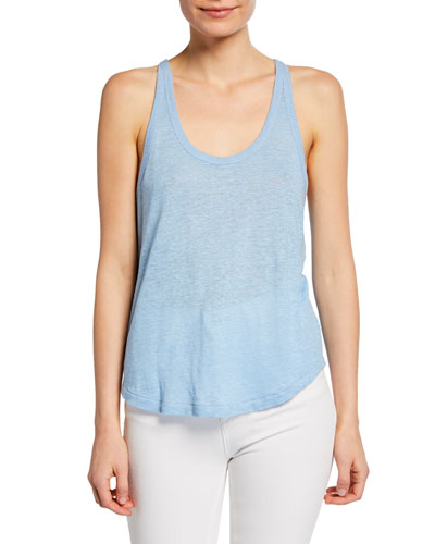 Gage Scoop-Neck Racerback Linen Tank