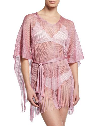 Fringe Bottom Woven Coverup, Pink
