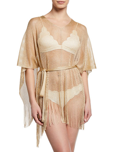 Fringe Bottom Woven Coverup, Nude/Champagne