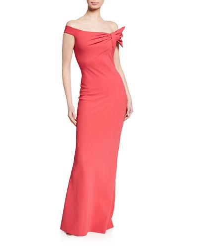 Off-the-Shoulder Short-Sleeve Column Gown w/ Asymmetric Knot Detail
