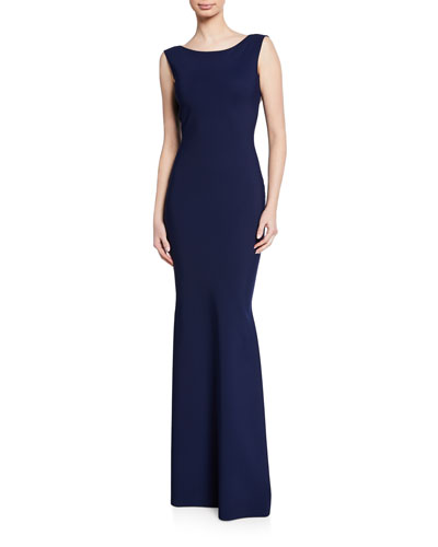 Boat-Neck Sleeveless Column Gown w/ Bow-Back Detail
