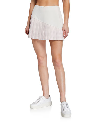 Striped Pleated-Hem Tennis Skirt