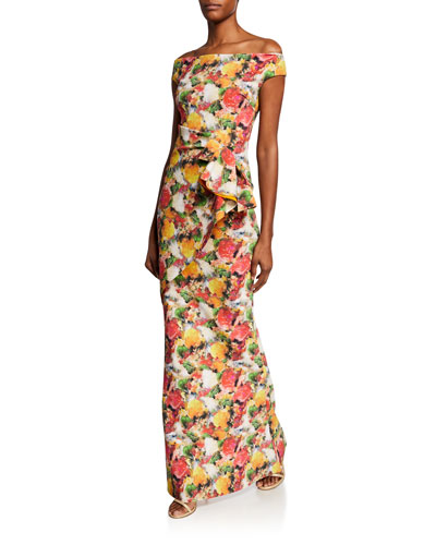 Printed Off-Shoulder Short-Sleeve Gown w/ Asymmetric Ruffle Detail