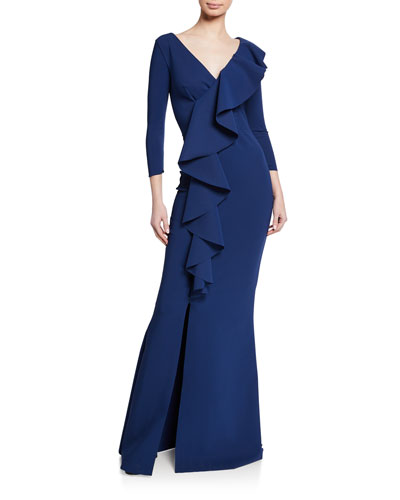 Janka V-Neck 3/4-Sleeve Asymmetric Ruffle Mermaid Gown w/ Slit
