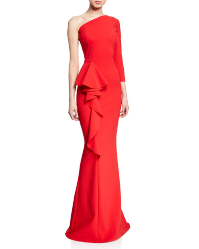 One-Shoulder Asymmetric Trumpet Gown w/ Side-Ruffle Detail