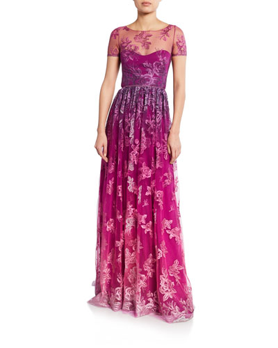 Ombre Metallic Embroidered Short-Sleeve Illusion Gown with Open-Back