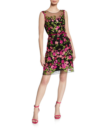 Embroidered Sleeveless Cutout Dress with 3D Flowers