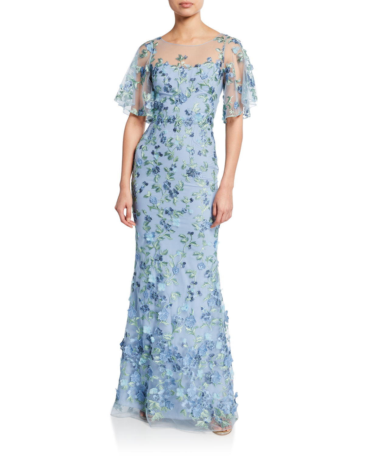 Marchesa Notte Tops SWEETHEART ILLUSION FLUTTER-SLEEVE EMBROIDERED TULLE GOWN W/ 3D FLOWERS