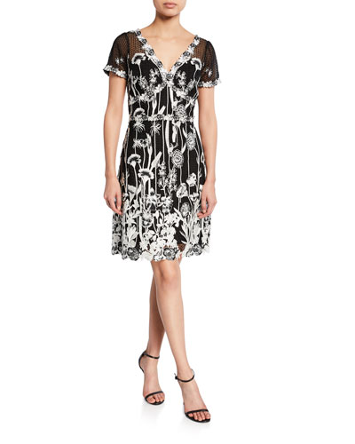 V-Neck Cap-Sleeve Embroidered Guipure Lace Dress