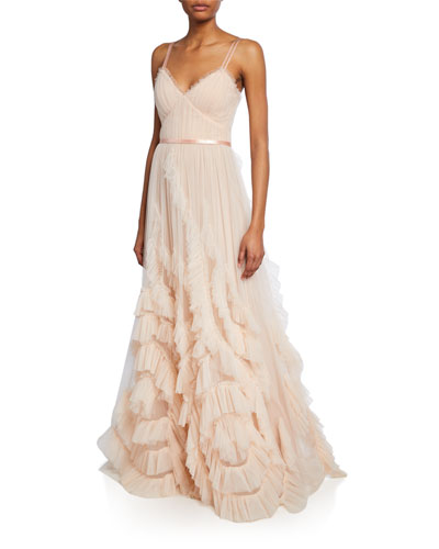 V-Neck Sleeveless Textured Tulle Gown w/ Cascading Ruffles & Lace