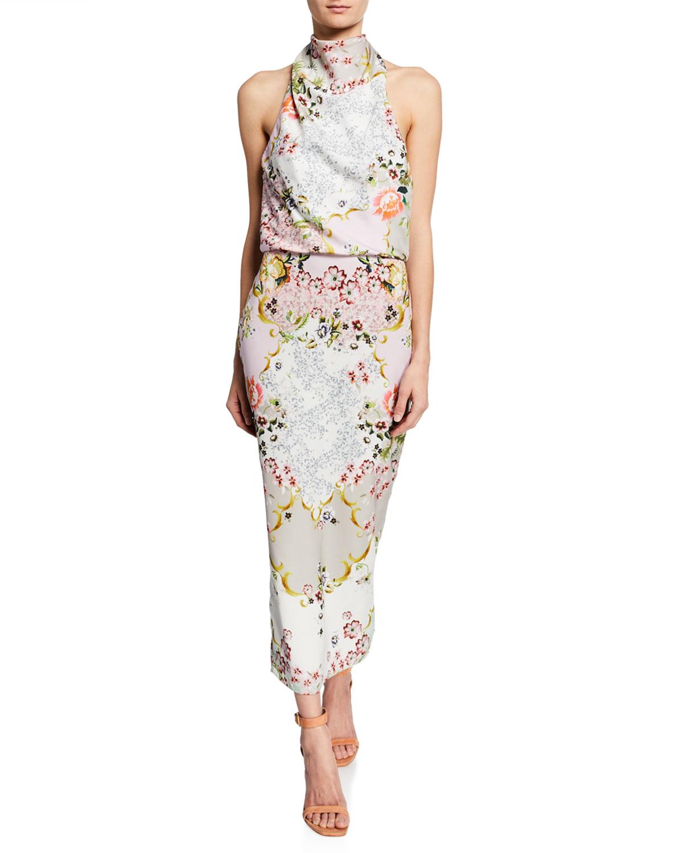 Badgley Mischka Dresses FLORAL-PRINT HALTER DRESS