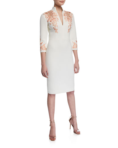 V-Neck 3/4-Sleeve Scuba Dress w/ Lace Embroidery