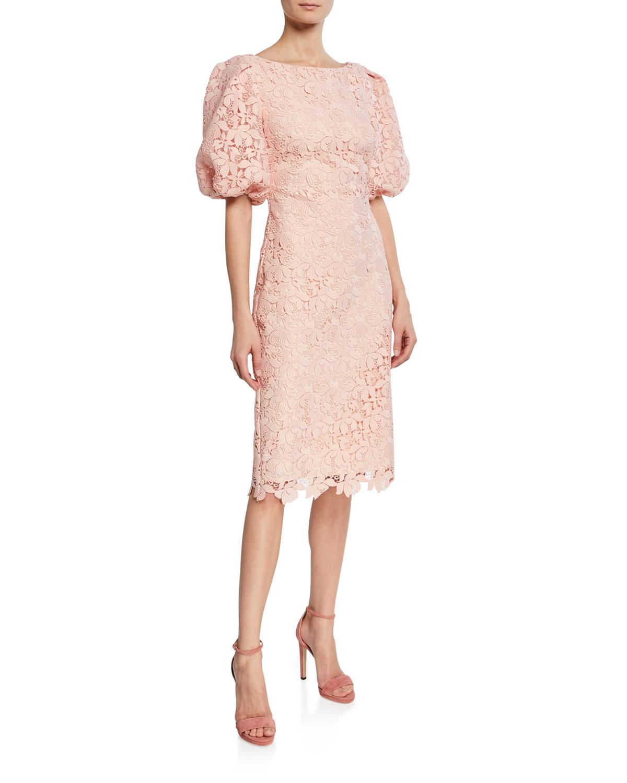 Badgley Mischka Dresses SCALLOP-LACE HIGH-NECK BALLOON-SLEEVE COCKTAIL DRESS