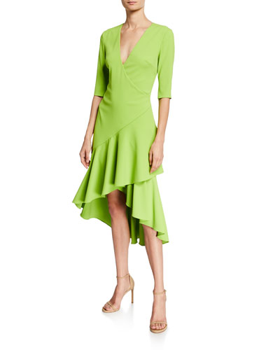 Surplice Elbow-Sleeve High-Low Flounce-Skirt Dress