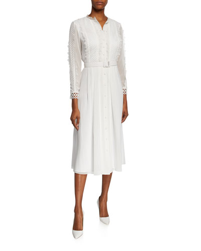 Button-Front 3/4-Sleeve Belted Shirtdress w/ Lace