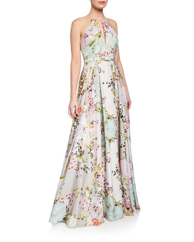 Alice Floral-Print Keyhole Halter Gown