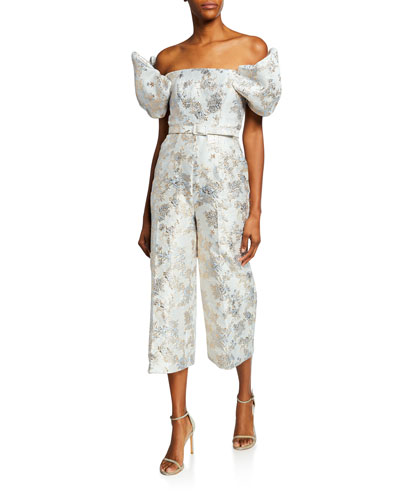 Metallic Jacquard Off-the-Shoulder Puff-Sleeve Crop Jumpsuit