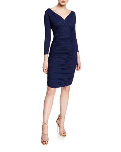 36e3ad7eda V-Neck 3 4-Sleeve Ruched Cocktail Dress