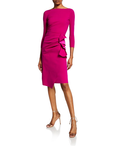 Zelma Side-Ruffle Body-Con Dress