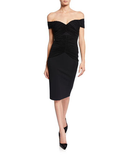 Off-the-Shoulder Short-Sleeve Ruched Cocktail Dress
