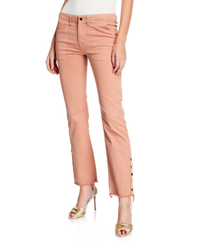 Gisela Straight-Leg Ankle Pants w/ Side Vents