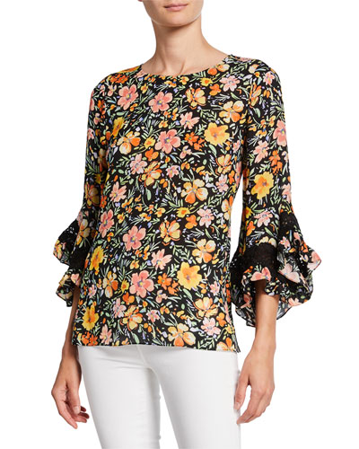 Sloane Floral-Print Ruffle-Sleeve Silk Blouse