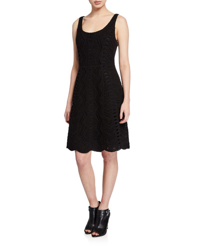 Sasha Scoop-Neck Sleeveless Crochet Fit-&-Flare Dress