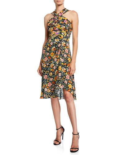 Steph Floral Silk Halter Dress