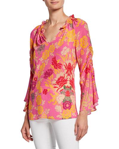 Jenna Floral-Print V-Neck Silk Blouse