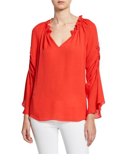 Carolina V-Neck Shirred Sleeve Silk Blouse