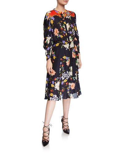 Leila Floral Button-Front Long-Sleeve Dress