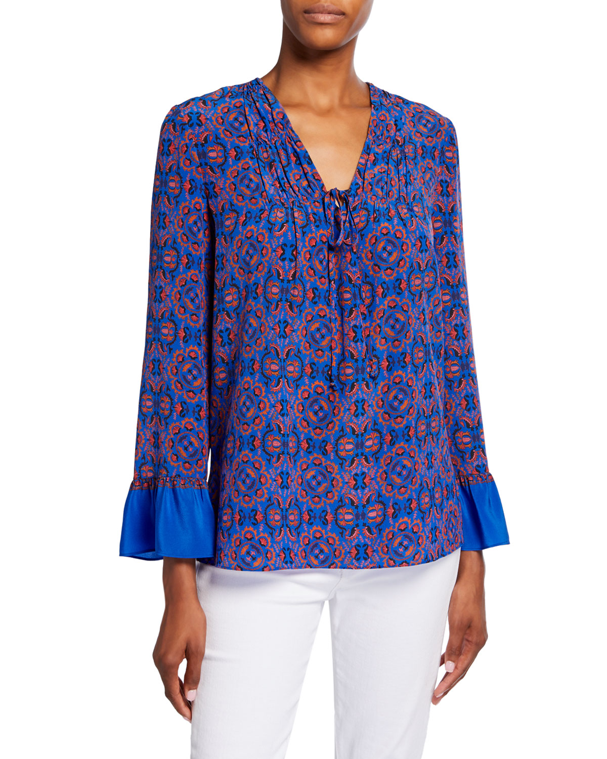 Kobi Halperin Tops ZOEY PRINTED V-NECK TIE-FRONT LONG-SLEEVE SILK BLOUSE