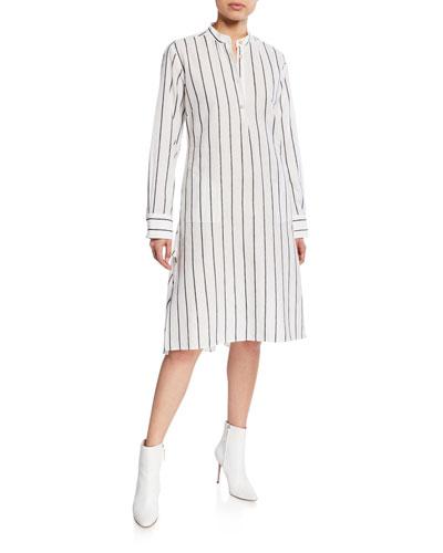 Alexandria Striped Long-Sleeve Shirtdress