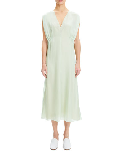 Draped-Bodice V-Neck Sleeveless Silk Charmeuse Dress