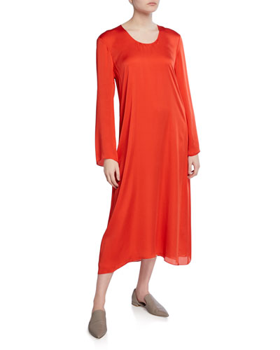 Long-Sleeve Fluid Silk Charmeuse Midi Dress