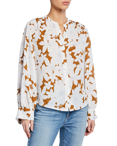 Tropical Blooms Button-Front Shirred-Back Long-Sleeve Blouse