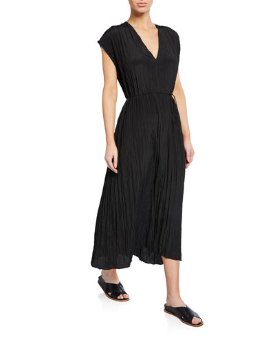 V-Neck Short-Sleeve Pleated Crinkle Dress