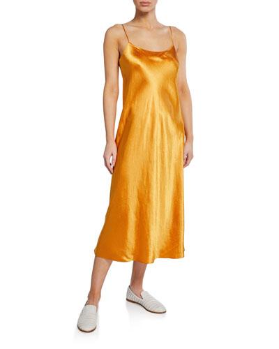 Spaghetti-Strap Satin Slip Dress