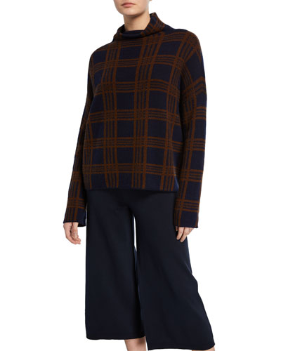 Tartan Plaid Funnel-Neck Long-Sleeve Wool/Cashmere Top
