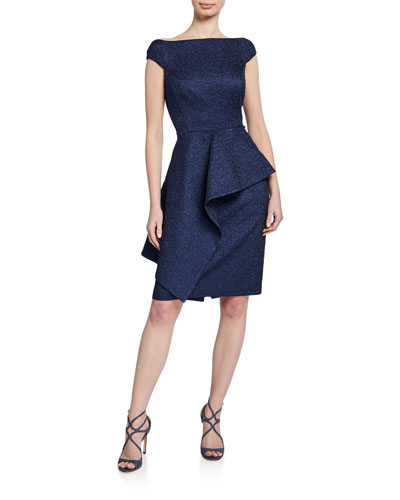 Metallic Jacquard Off-Shoulder Cap-Sleeve Asymmetric Peplum Dress