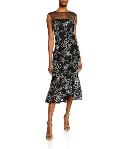 Sleeveless Floral-Embroidered Lace Sheath Dress w/ Flounce Hem
