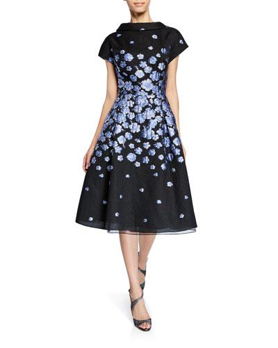 Roll-Neck Cap-Sleeve Flower-Patterned Jacquard Dress