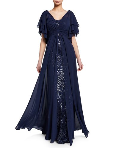 Beaded Lace Gazar Flutter-Sleeve Gown w/ Asymmetric Chiffon Overlay