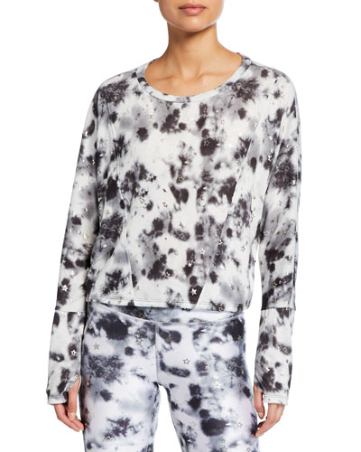 Foil-Print Tie-Dye Cropped Pullover